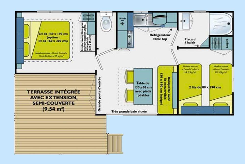 plan du mobil home du camping 4 étoiles