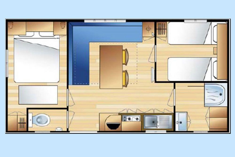plan intérieur du mobil-home